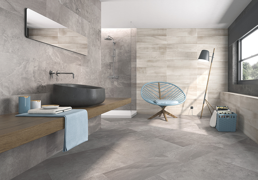 Tiles with sink and chair