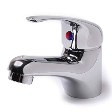 Mixer tap with hot and cold symbol