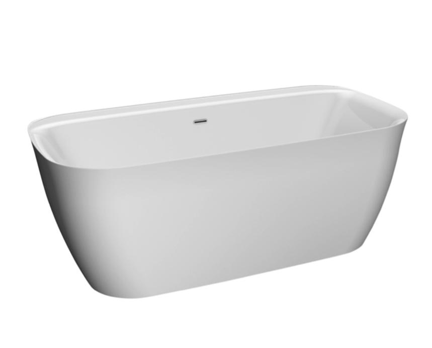 White freestanding bath with rim